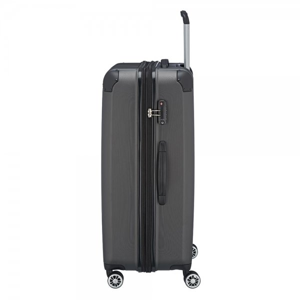 Travelite City 4 Wiel Trolley L Expandable antraciet Harde Koffer van ABS