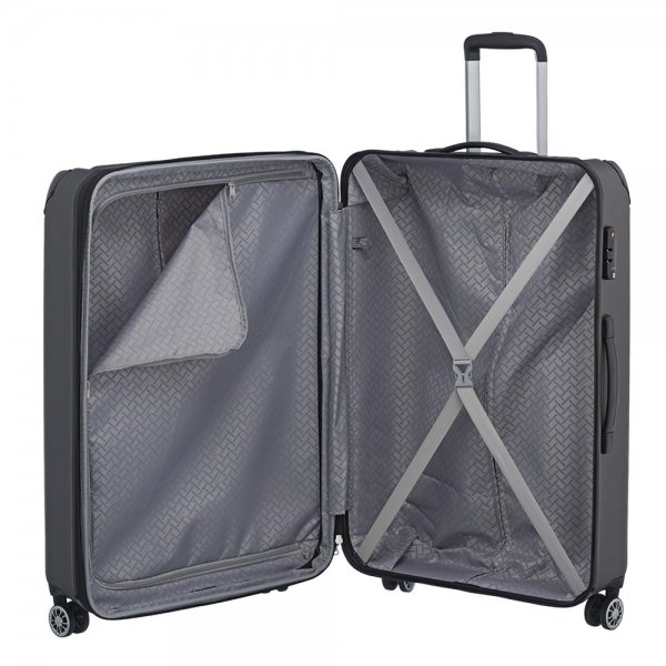 Travelite City 4 Wiel Trolley L Expandable antraciet Harde Koffer