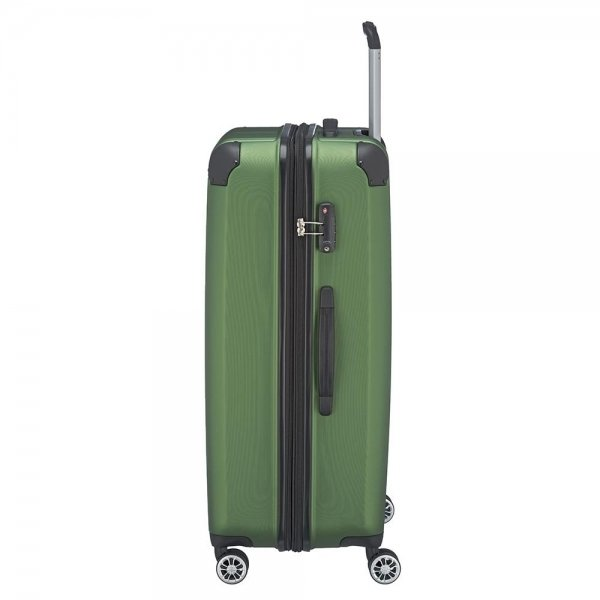 Travelite City 4 Wiel Trolley L Expandable green Harde Koffer van ABS