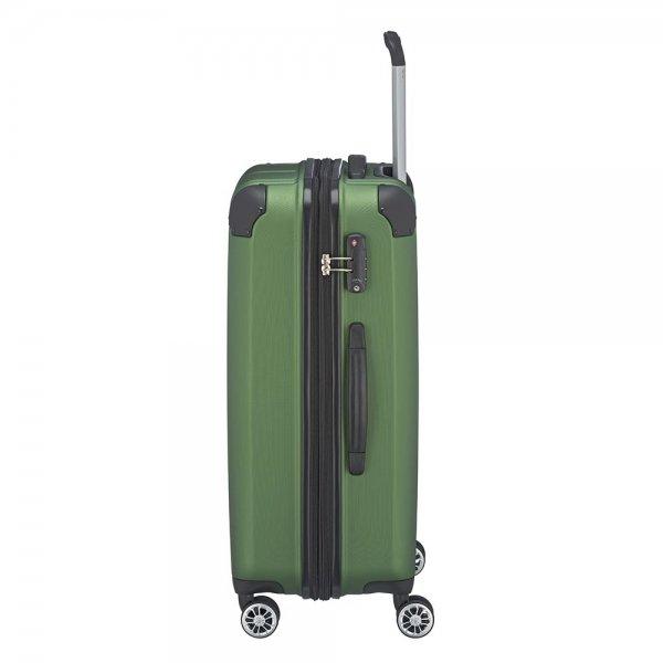 Travelite City 4 Wiel Trolley M Expandable green Harde Koffer van ABS