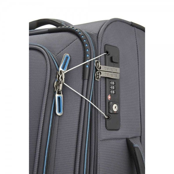 Travelite Crosslite 2 Wiel Trolley S exp anthracite Zachte koffer van Polyester