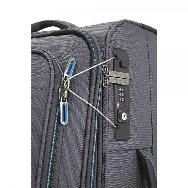 Travelite Crosslite 2 Wiel Trolley S exp black Zachte koffer van Polyester