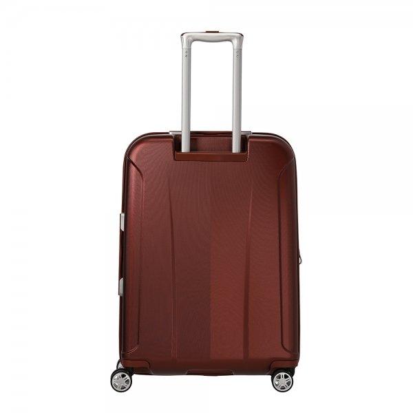 Travelite Elbe 4 Wiel Trolley M Expandable red Harde Koffer van Polycarbonaat
