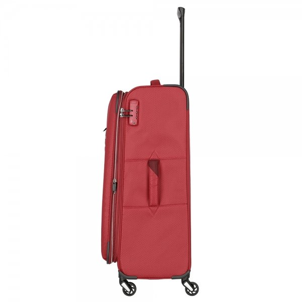 Travelite Kite 4 Wiel Trolley L Expandable red Zachte koffer van Polyester