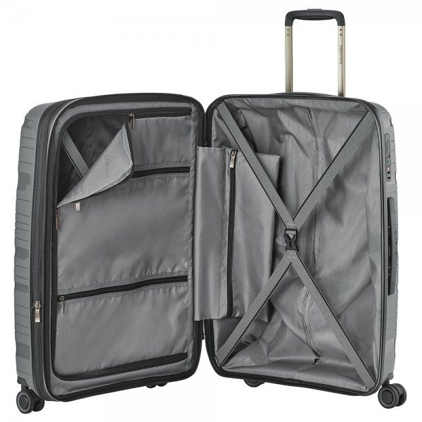 Travelite Motion 4w Trolley M expandable anthracite Harde Koffer van Polypropyleen