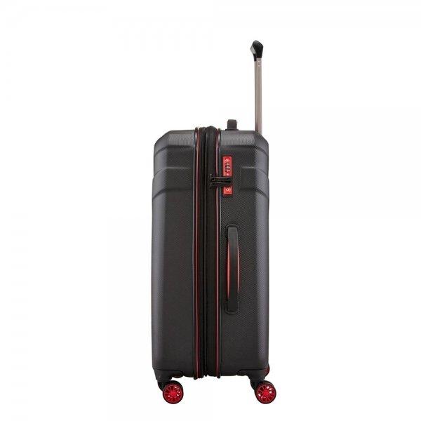 Travelite Vector 4 Wiel Trolley M Expandable black Harde Koffer van ABS