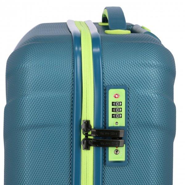 Travelite Vector 4 Wiel Trolley S petrol/lime Harde Koffer van ABS