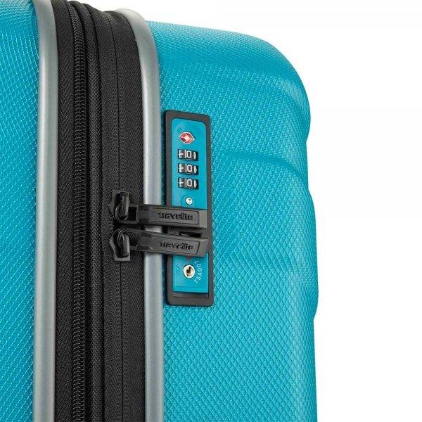 Travelite Vector 4 Wiel Trolley S turquoise Harde Koffer van ABS