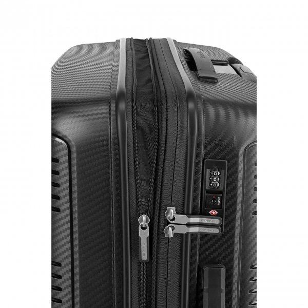 Travelite Zenit 4 Wiel Trolley M Expandable black Harde Koffer van Polycarbonaat