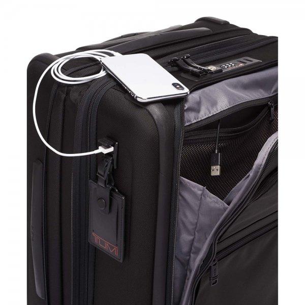 Tumi Alpha Continental Expandable 4 Wheeled Carry-On black Zachte koffer van Nylon