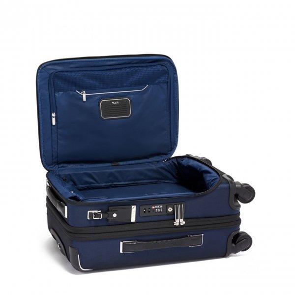 Tumi Arrivé International Dual Acces 4 Wheel Carry-On navy Zachte koffer van Polyester