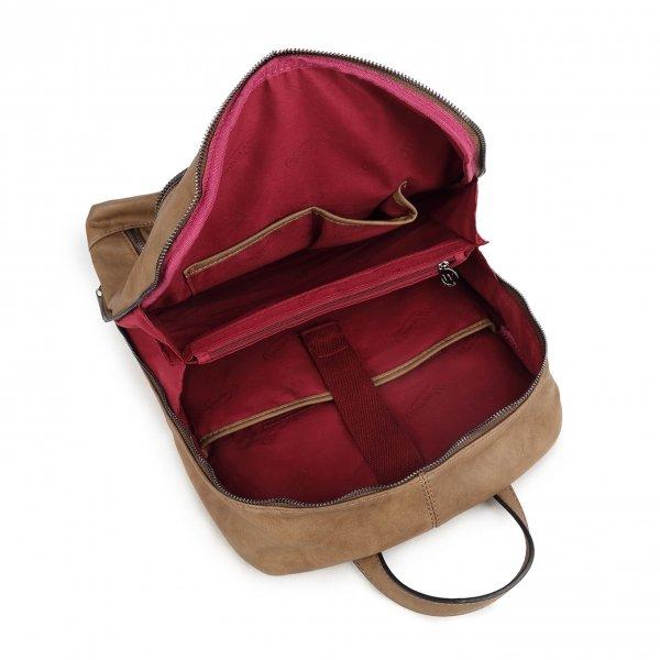 Wimona Marina Rugzak taupe backpack van PU