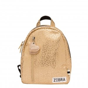 Zebra Trends Girls Rugzak S gold metallic leo Kindertas
