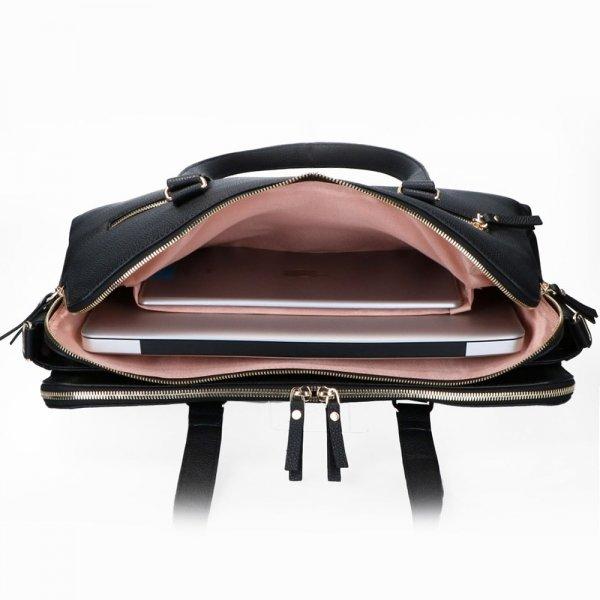 FMME. Charlotte 15.6 Workingbag 3 Pockets Croco black van Leer