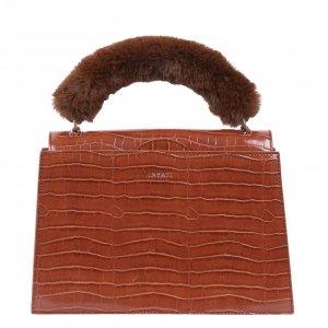 Inyati Olivia Top Handle Bag brandy brown croco Damestas