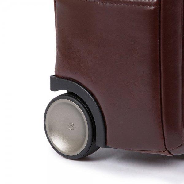 Piquadro Black Square Briefcase with wheels brown Zakelijke koffer van Leer