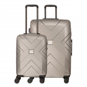Travelbags Londen 2 Delige Trolley Set champagne