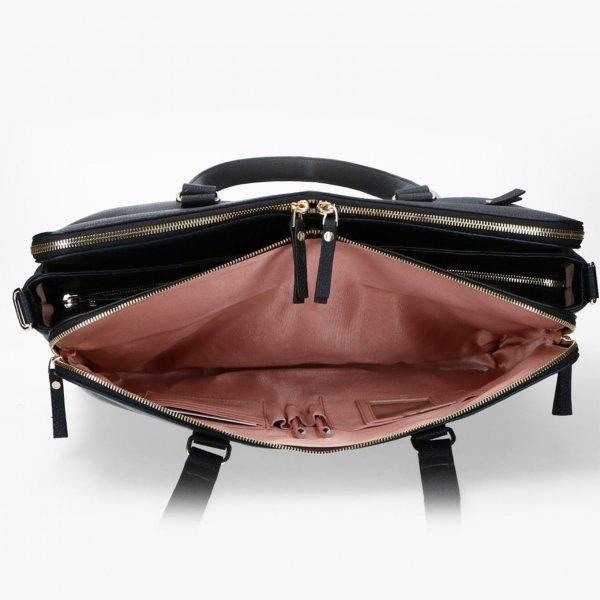 FMME. Charlotte 15.6 Workingbag Croco black van Leer