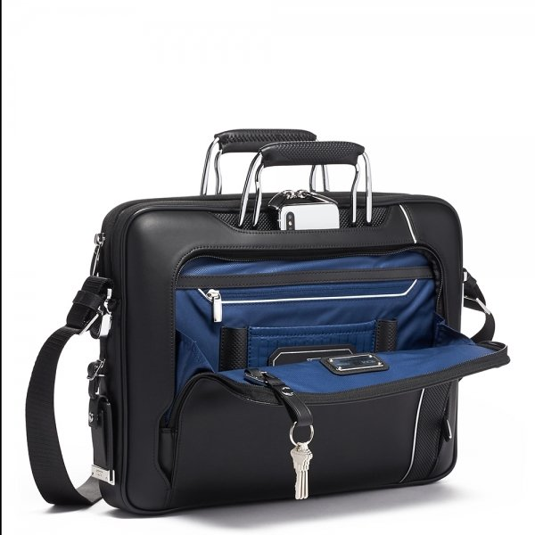 Tumi Arrivé Hannover Slim Briefcase Leather black van Polyester