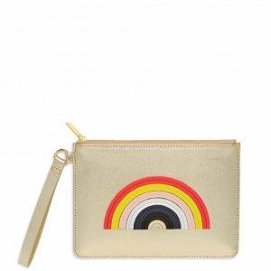 Estella Bartlett Medium Pouch With Handle Multicolour Rainbow Applique gold saffiano Damestas