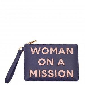 Estella Bartlett Medium Pouch With Handle Woman On A Mission Applique navy saffiano Damestas