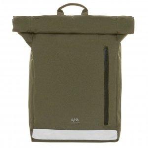 Lefrik Reflective Roll Top Backpack olive/ecru Laptoprugzak