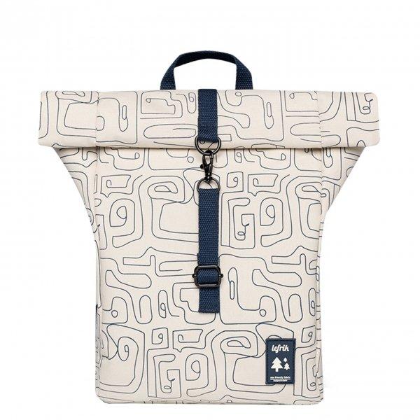 Lefrik Roll Top Mini Backpack ecru graphic Rugzak