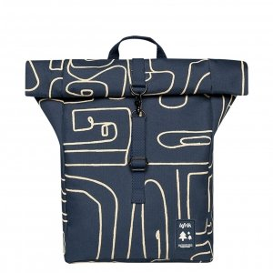 Lefrik Roll Top Mini Backpack navy graphic Rugzak
