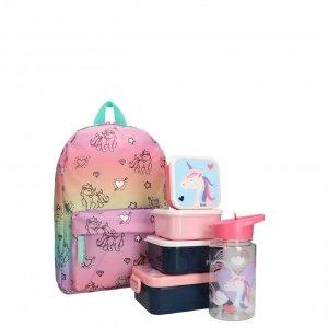 Kidzroom Unicorn Rugzak met Lunchbox/Drinkbeker/Snackbox roze Kindertas