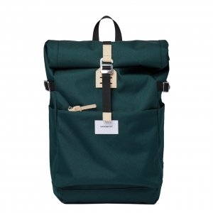Sandqvist Ilon Backpack dark green with natural leather Laptoprugzak