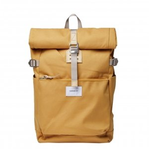 Sandqvist Ilon Backpack yellow with natural leather Laptoprugzak