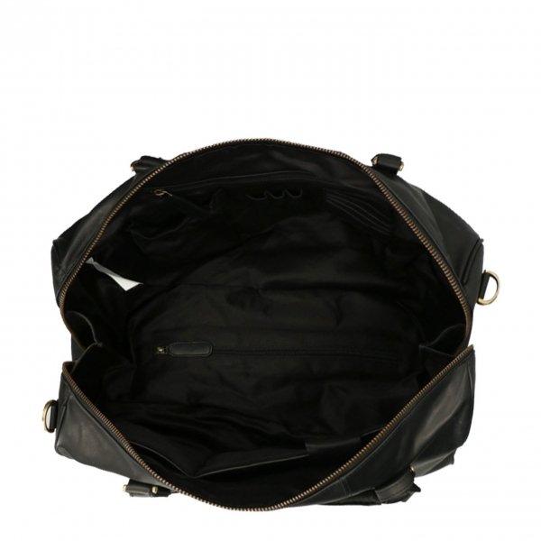 Travelbags The Weekender Duffel black Weekendtas van Leer