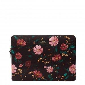 "Wouf Black Flowers Laptophoes 15"" black Laptopsleeve"
