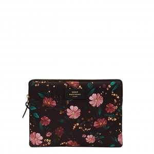 Wouf Black Flowers iPad hoes black Laptopsleeve