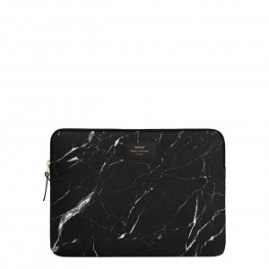"Wouf Black Marble Laptophoes 13"" black Laptopsleeve"