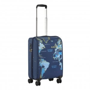 CarryOn World Map 4 Wiel Trolley 55 blue Harde Koffer