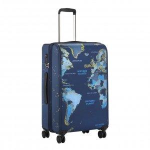 CarryOn World Map 4 Wiel Trolley 69 blue Harde Koffer