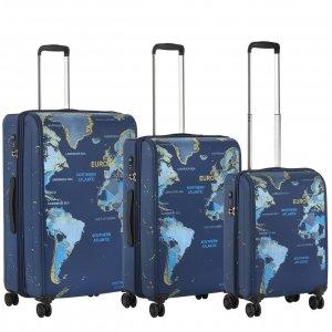 CarryOn World Map Trolleyset 3pcs blue