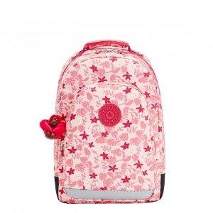 Kipling Class Room Rugzak pink leaves backpack