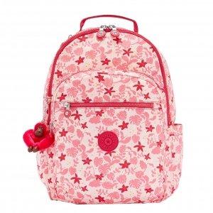 Kipling Seoul Rugzak pink leaves backpack