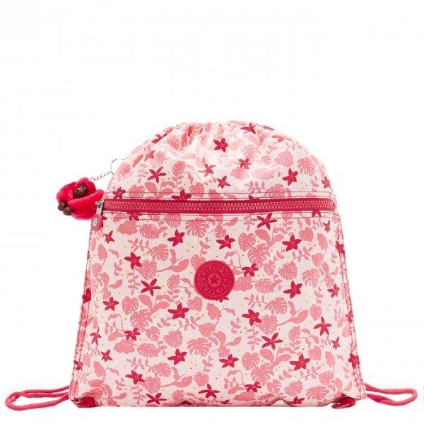 Kipling Supertaboo Gymsack pink leaves