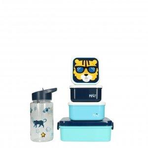 Kidzroom Tiger Set Lunchbox/Drinkbeker/Snackbox blauw Kindertas