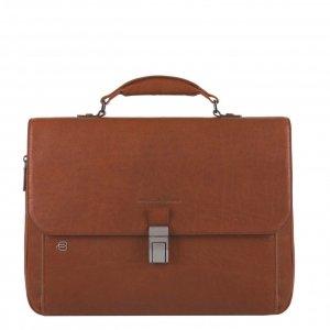 Piquadro Black Square Expandable Computer Bag with iPad Compartment cognac Aktetas