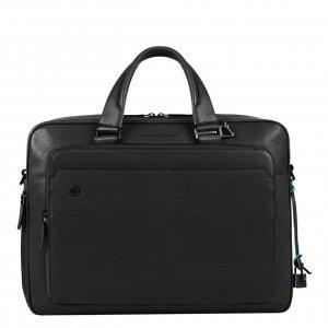 Piquadro Black Square Portfolio Computer Briefcase with iPad Compartment black