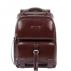 Piquadro Blue Square Computer Fast-check Backpack with iPad Compartment dark brown backpack