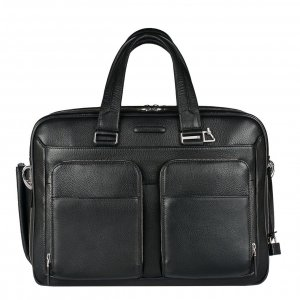Piquadro Modus Expandable Computer Briefcase with iPad Compartment black