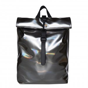 Rains Rolltop Mini holographic steel backpack
