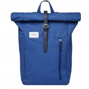 Sandqvist Dante Backpack blue with blue leather backpack