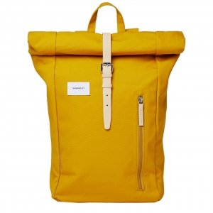 Sandqvist Dante Backpack yellow with natural leather backpack