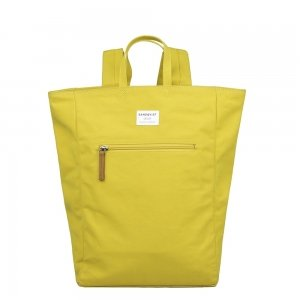Sandqvist Tony Backpack yellow with natural leather backpack